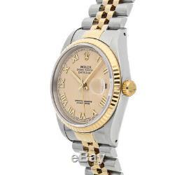Rolex Datejust Auto 36mm Steel Yellow Gold Mens Jubilee Bracelet Watch 16233