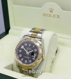Rolex Datejust II 41mm 116333 Two Tone 18K Yellow Gold SS Black Dial Watch Mint