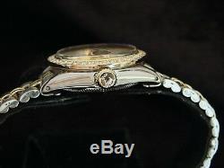 Rolex Datejust Ladies 14K Gold & Steel Watch Champagne Diamond Dial & 1ct Bezel
