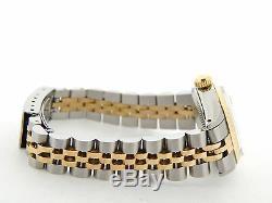Rolex Datejust Ladies 2Tone 14K Gold Stainless Steel Watch Silver Diamond 6917