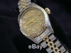 Rolex Datejust Ladies 2Tone 14K Gold & Steel Watch Champagne Diamond Dial 6917