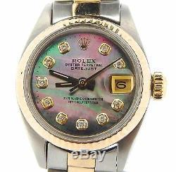 Rolex Datejust Ladies 2Tone 14K Gold Steel Watch Tahitian MOP Diamond Dial 6917
