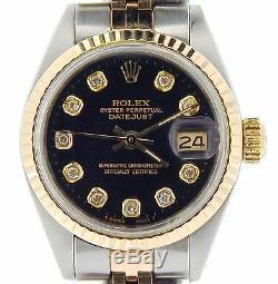 Rolex Datejust Ladies 2Tone 14K Yellow Gold Steel Watch Black Diamond Dial 6917