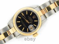 Rolex Datejust Ladies 2Tone Yellow Gold Steel Watch Oyster Black Dial 69173