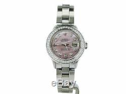 Rolex Datejust Ladies Stainless Steel Watch with Pink MOP Diamond Dial & Bezel