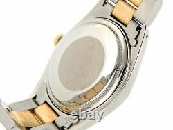 Rolex Datejust Men 2tone Gold/Steel Oyster withBlack Diamond String Dial 16013