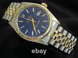 Rolex Datejust Men Two-Tone 14K Yellow Gold & Stainless Steel Jubilee Blue 16013