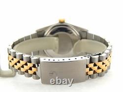 Rolex Datejust Men Two-Tone 18K Gold & Stainless Steel Watch Jubilee Black Roman