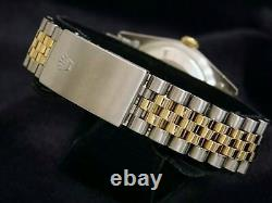 Rolex Datejust Mens 18K Gold Stainless Steel Watch Diamond Dial Champagne 16233