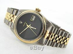 Rolex Datejust Mens 2Tone 14K Gold & Stainless Steel Jubilee with Black Dial 1601