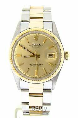 Rolex Datejust Mens 2Tone 14K Gold Stainless Steel Oyster Fluted Champagne 1601