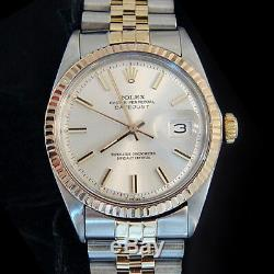 Rolex Datejust Mens 2Tone 14K Gold & Stainless Steel Silver Jubilee Band 1601