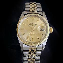 Rolex Datejust Mens 2Tone 14K Gold Stainless Steel Watch Oval Link Jubilee 1601
