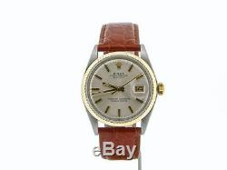 Rolex Datejust Mens 2Tone 14K Yellow Gold & Stainless Steel Watch with Silver Dial