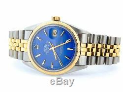 Rolex Datejust Mens 2Tone 14K Yellow Gold & Steel Watch Jubilee Blue Dial 1601