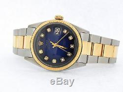 Rolex Datejust Mens 2Tone 14k Gold & Stainless Steel Blue Vignette Diamond 1601