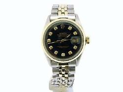 Rolex Datejust Mens 2Tone 14k Gold Stainless Steel Oval Link Black Diamond 1601
