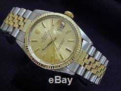 Rolex Datejust Mens 2Tone 18K Gold Stainless Steel Champagne Jubilee Band 16013
