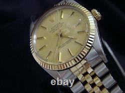 Rolex Datejust Mens 2Tone 18K Yellow Gold & Steel Watch Jubilee Champagne 16013