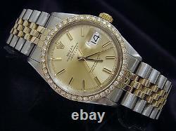 Rolex Datejust Mens 2Tone Gold / Stainless Steel Watch 1ct Diamond Bezel