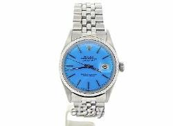 Rolex Datejust Mens SS Stainless Steel Jubilee Band Light Blue Dial Watch 1603