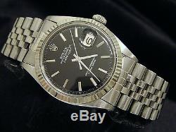 Rolex Datejust Mens Stainless Steel 18K White Gold Black with Jubilee Band 1601