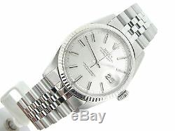 Rolex Datejust Mens Stainless Steel 18K White Gold Jubilee with Silver Dial 1601