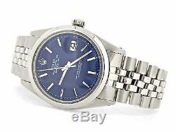 Rolex Datejust Mens Stainless Steel Watch with Blue Dial & Original Jubilee Band