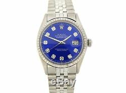 Rolex Datejust Mens Stainless Steel Watch with Submariner Blue Diamond Dial 1603