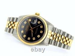 Rolex Datejust Mens Stainless Steel Yellow Gold Watch Diamond Black 16013