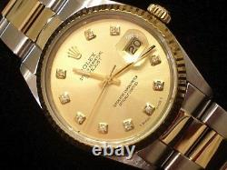 Rolex Datejust Mens Two-Tone 18K Yellow Gold & Stainless Steel Champagne Diamond