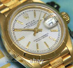 Rolex Datejust President Bark 18k Yellow Gold Silver Tapestry Ladies Watch 69278