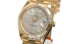Rolex Day Date 228238 President 40mm Yellow Gold Silver Motif Dial Watch
