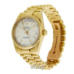 Rolex Day-Date 36 President Yellow Gold Silver Index Dial Watch 118238
