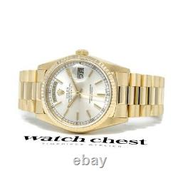 Rolex Day-Date 36 Yellow Gold President 18038 Wristwatch Silver Index Dial