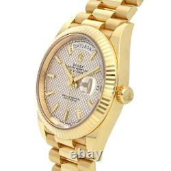 Rolex Day-Date 40 Diagonal Motif Dial Yellow Gold Automatic Mens Watch 228238