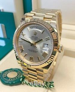 Rolex Day-Date 40mm 228238 Yellow Gold Silver Roman Dial With Papers 2020 UNWORN