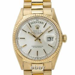 Rolex Day-Date President 1802 Unpolished 18k Yellow Gold Silver Dial Mens 36mm