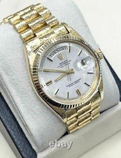 Rolex Day Date President 1803 18K Yellow Gold Silver Sigma Dial Florentine 1966