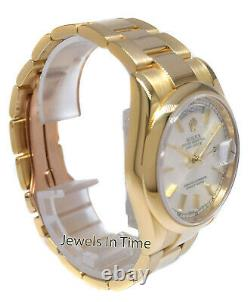 Rolex Day-Date President 18k Yellow Gold Silver Dial Oyster Watch& Box P 118238