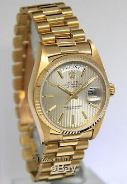 Rolex Day-Date President 18k Yellow Gold Silver Tapestry Dial 36mm Watch 18038