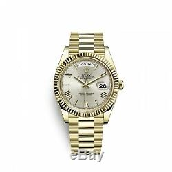 Rolex Day-Date President 40mm 18k Yellow Gold Silver Roman Watch 228238 Complete