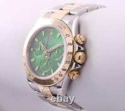 Rolex Daytona 116523 18k Two Tone 40mm Watch-New Style Green Dial-18k Gold Bezel
