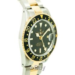 Rolex GMT Master 16753 Mens Automatic Watch Two Tone 18K Yellow Gold 40mm