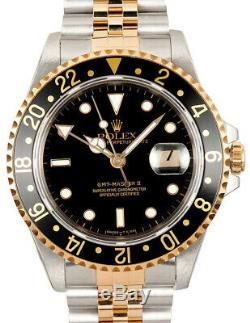 Rolex GMT-Master II 18k Yellow Gold/Steel Black Mens Watch & Box W 16713
