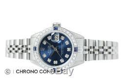 Rolex Ladies Datejust Blue Diamond Dial 18K White Gold & Stainless Steel Watch
