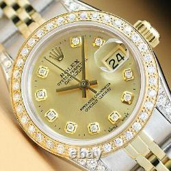 Rolex Ladies Datejust Champagne Diamond Dial 18k Yellow Gold Steel Watch