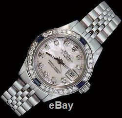 Rolex Ladies Datejust Date Jubilee Steel Diamond Dial Bezel Sapphire Watch