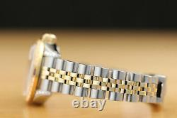 Rolex Ladies Datejust Pink Dial 18k Yellow Gold Ruby Diamond Bezel & Steel Watch