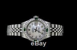 Rolex Ladies Datejust Watch Oyster Stainless Jubilee Diamond Emerald Bezel Dial